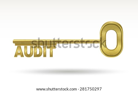 audit - golden key isolated on white background