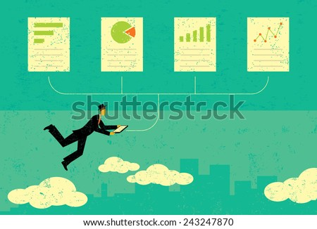 Auditing Financial Documents  A man auditing financial documents over an abstract skyline background. The man & financial documents and the background are on a separate labeled layers. - stock vector