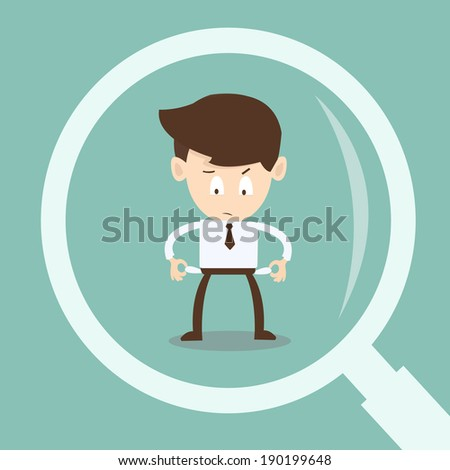 Auditing Financial Statements -   magnifying glass looking  businessman  auditing financial  - stock vector