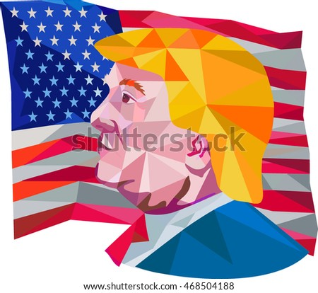 Aug 15, 2016: Illustration showing Republican Party presidential president 2016 candidate Donald John Trump side profile with USA stars and stripes falg done in low polygon art style.