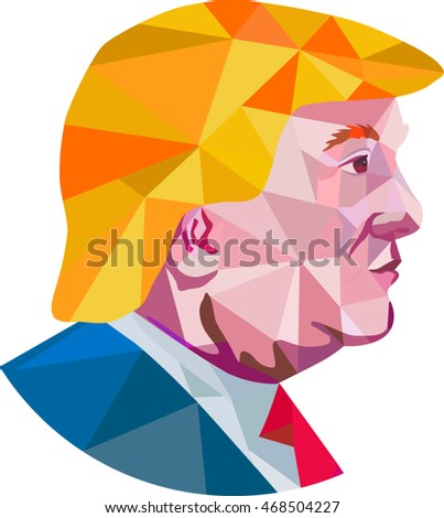 Aug 15, 2016:Illustration showing Republican Party presidential president 2016 candidate Donald John Trump side profile done in low polygon art style.