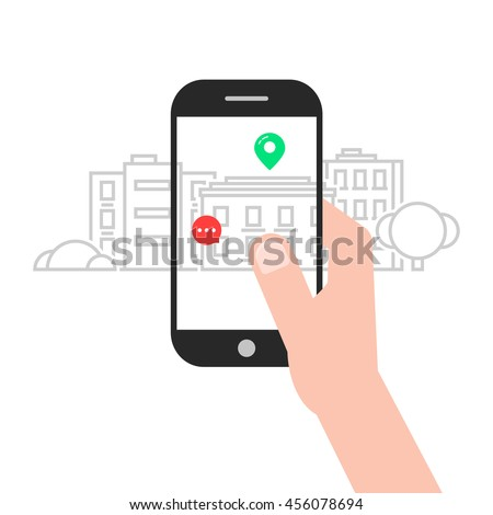 augmented reality with linear city. concept of ar, vr, geo, gadget, vision, gps, simulation, future, progress, innovation. flat style trend modern design vector illustration on white background - stock vector