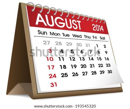 August Calendar 2014. - stock vector
