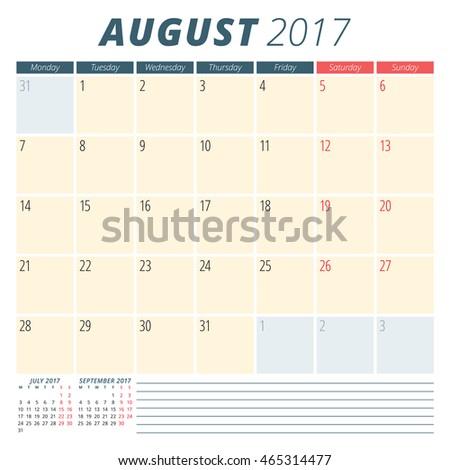 October Calendar 2017 Starting Monday
