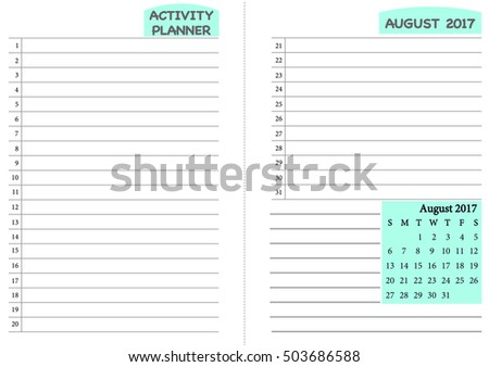 August 2017 Calendar Template Monthly Planner Template With Daily Routine  Check List, Activity Schedule Chart  Daily Routine Chart Template
