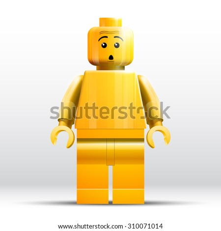 August 26, 2015: designs vector illustration isolated toy yellow amazement plastic persona LEGO minifigures yong man on white background illustrative - stock vector