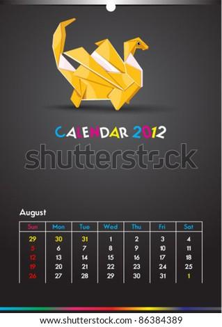 August 2012 Dragon Calendar Template - stock vector