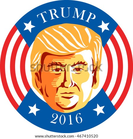 August 12, 2016: Illustration showing Republican Donald John Trump set inside circle with stars and stripes with words Trump 2016 president done in stencil retro art style.