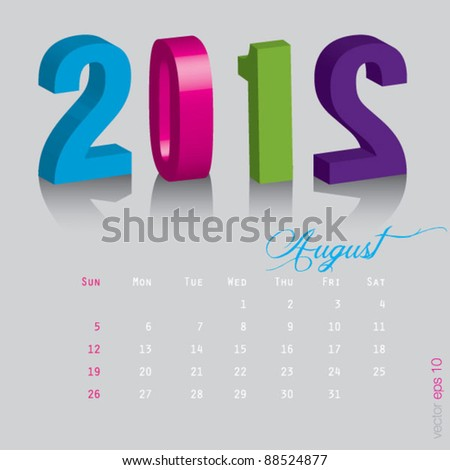 August New year 2012. Calendar 3d vector on gray background