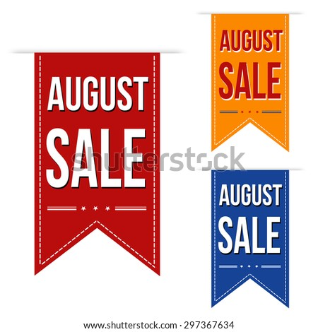 August sale banners design over a white background, vector illustration - stock vector