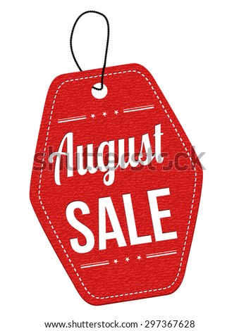 August sale red leather label or price tag on white background - stock vector