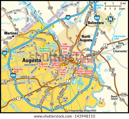 Augusta Georgia Area Map Stock Vector 143948110 Shutterstock