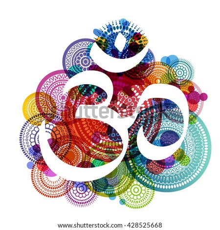 Aum symbol on a colorful background, eps10 vector - stock vector