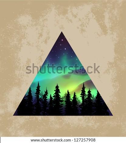Aurora borealis triangle background - vector illustration. - stock vector