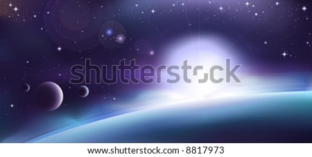 Aurora over a blue planet (other space landscapes are in my gallery)
