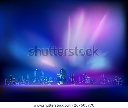 Aurora over the City. Vector illustration - stock vector