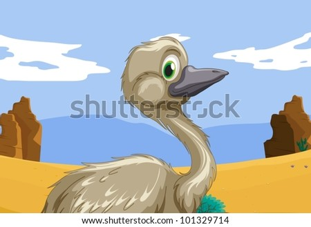 Aussie emu in the outback - stock vector
