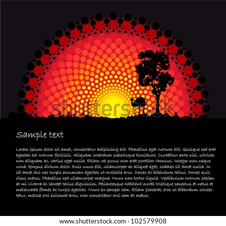 Australia Aboriginal art stylized vector background with tree and emu - stock vector
