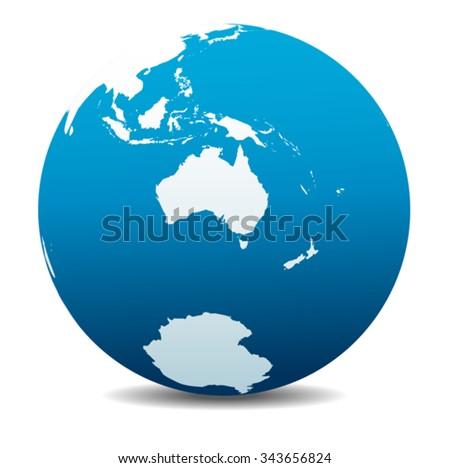 Australia and New Zealand, South Pole, Antarctica, Global World - stock vector