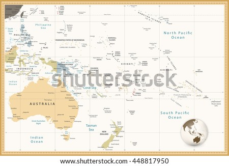 Australia and Oceania detailed political map retro colors. All elements are separated in editable layers clearly labeled. - stock vector