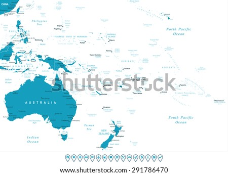 Australia and Oceania - map and navigation labels - illustration - stock vector