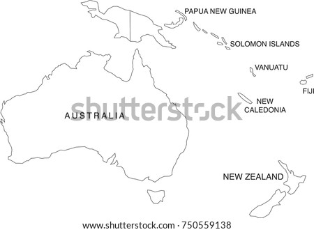 australia and oceania map coloring book outlines labels in separate layer - Map Coloring Book