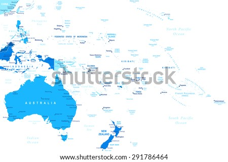Australia and Oceania map - highly detailed vector illustration - stock vector