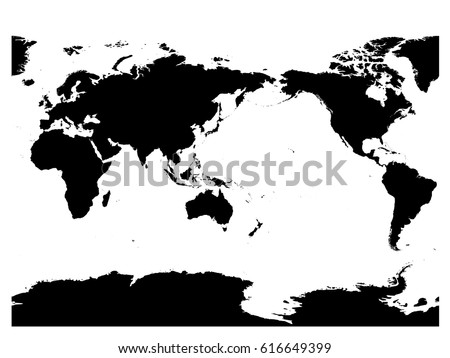 Australia pacific ocean centered world map vector de stock616649399 australia and pacific ocean centered world map high detail black silhouette on white background gumiabroncs Images