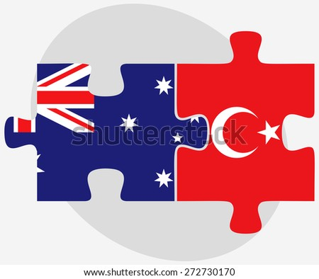 Australia and Turkey Flags in puzzle isolated on white background - stock vector