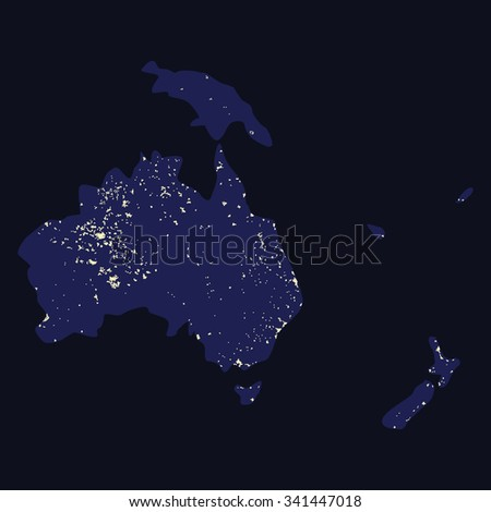 Australia by night. Energy consumption concept. - stock vector