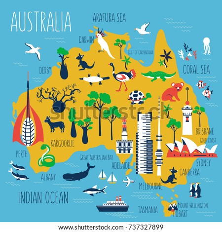 Australia cartoon travel map vector illustrationlandmark vectores en australia cartoon travel map vector illustrationlandmark telstra tower perth bell tower old gumiabroncs Image collections