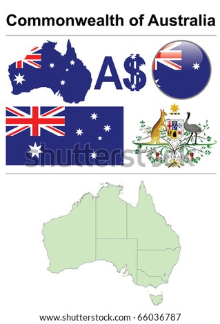 Australia collection including flag, map (administrative division), symbol, currency unit & glossy button - stock vector