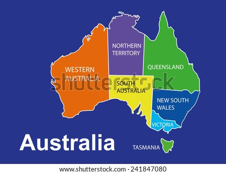 Australia colorful map in blue background, australia map vector, map vector - stock vector