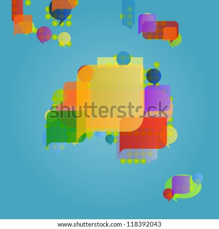 Australia continent and Oceania map made of colorful speech bubbles concept illustration background vector