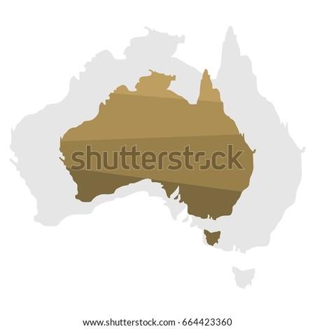 Australia Continent Map Illustration Stock Vector 664423360 ...