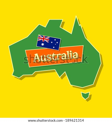 Australia continent with australian national flag and title isolated on yellow background - stock vector