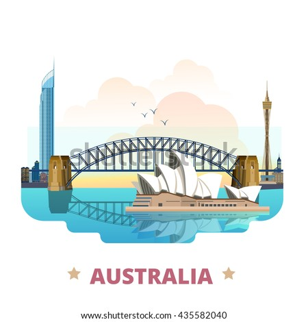 Australia country flat cartoon style historic sight web site vector illustration. World travel sightseeing Australian collection. Sydney Opera House Harbour Bridge Q1 tower in Gold Coast Queensland. - stock vector