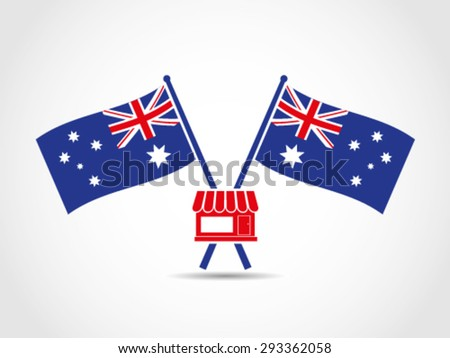 Australia Crossed Flags Emblem Store Market - stock vector