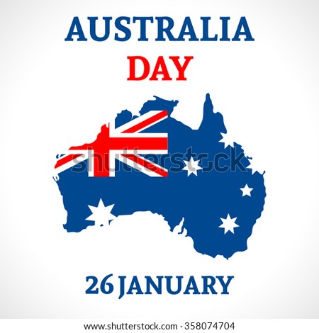 Australia Day Background. National celebration card with flag and continent. Vector illustration. - stock vector