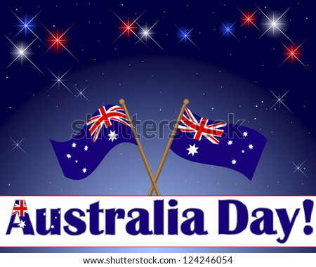 Australia Day. Celebratory background with a banner, fireworks and flags. Vector illustration. - stock vector