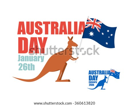 Australia day. Illustration for patriotic holiday of country. Kangaroo holding flag of Australia. Hilarious animal with flag of country.
