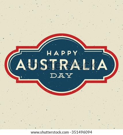 Australia Day - 26 January -  Vintage Typographic Design - stock vector
