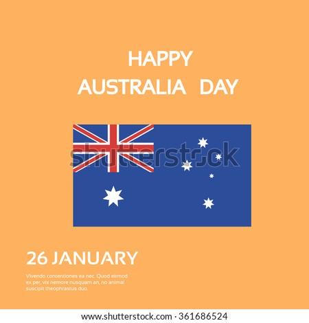 Australia Day National Flag Flat Celebration Card Vector Illustration - stock vector