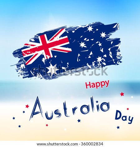 Australia day with grange flag on blur background. Sea and ocean in vector. Simple holiday text for australia day - stock vector