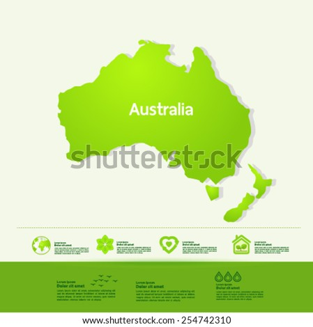 Australia ecology World Map vector illustration - stock vector