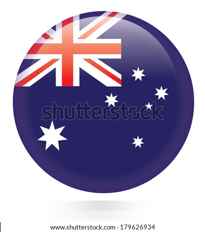 Australia flag button - stock vector