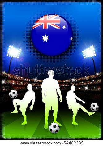 Australia Flag Button with Soccer Match in Stadium Original Illustration - stock vector