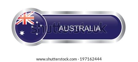 Australia Flag glossy banner  - stock vector