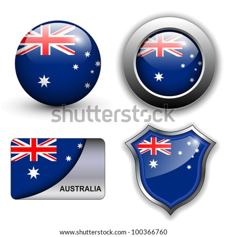 Australia flag icons theme. - stock vector