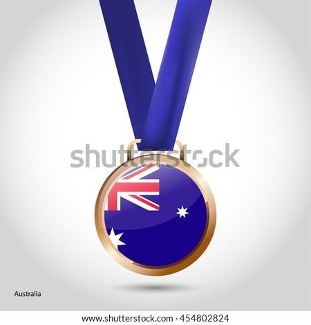 Australia Flag in Bronze Medal. Olympic Game Bronze Medal. Vector Illustration - stock vector